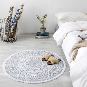 Image 2 - 曼荼羅ラウンド床敷物リビングルームの寝室のカーペットドアマット飾る家エリア綿ハンドメイド自由奔放に生きる敷物
