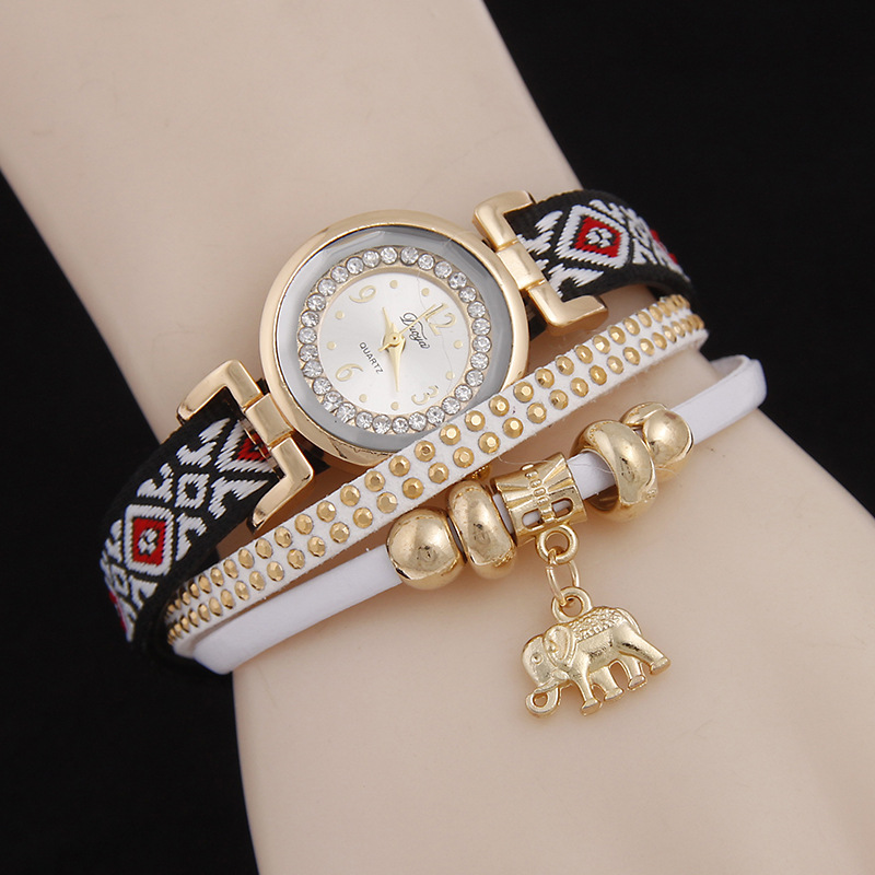 Charm Bracelet Watches: New ItemBohemia Elephant Charm Pendant Rivet Lady PU