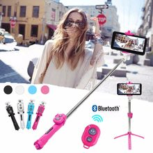 Hot sell Tripod Selfie Stick Bluetooth Foldable Selfiestick For iPhone 5 5S 6 6S 7 Plus X Samsung Xiaomi Hua wei Remote Handheld(China)