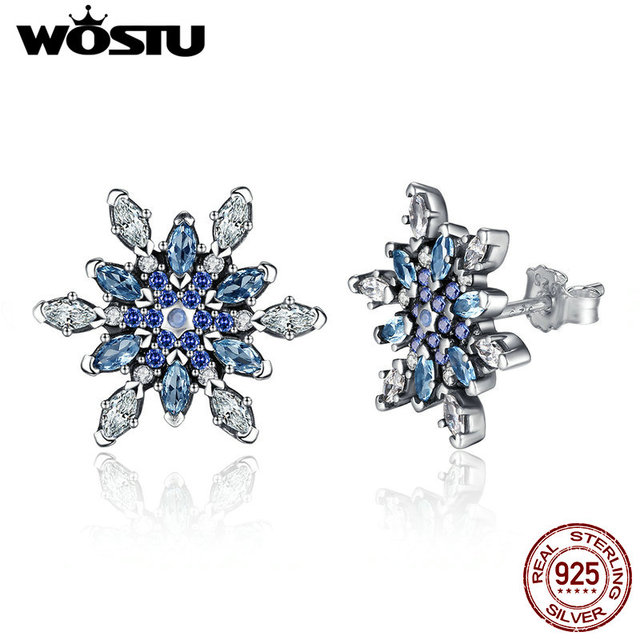 100% Real 925 Sterling Silver Crystalized Snowflake Stud Earrings For Women Compatible With Original Pan Jewelry Gift