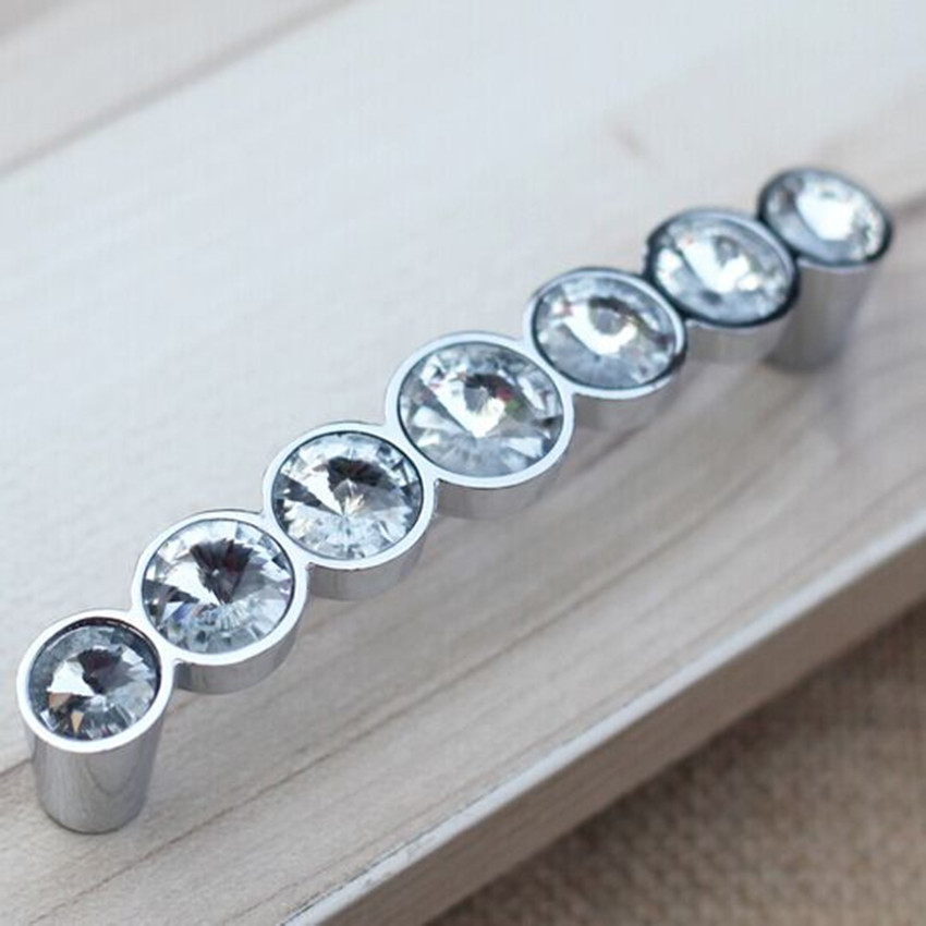 96mm Modern Fashion Deluxe Glass Diamond Furniture Handles Transparent  Crystal Drawer Cabinet Pull Silver Chrome Dresser Part 17
