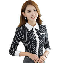 New OL fashion Business stripe blouses women elegant slim formal long sleeve chiffon shirt office ladies plus size work wear top