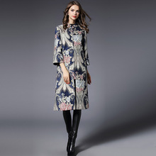 2017 Women Spring Coat Fashion Elegant Jacquard Topper Vintage Bohemia Clothing Runway Womens Maxi Casual Long Windbreaker Coats