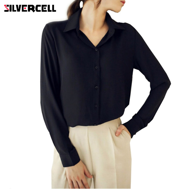 SILVERCELL Spring Autumn shirts Long-sleeved Solid Chiffon Blouse Shirts for Women Plus Size Fashion Casual Clothing for Women