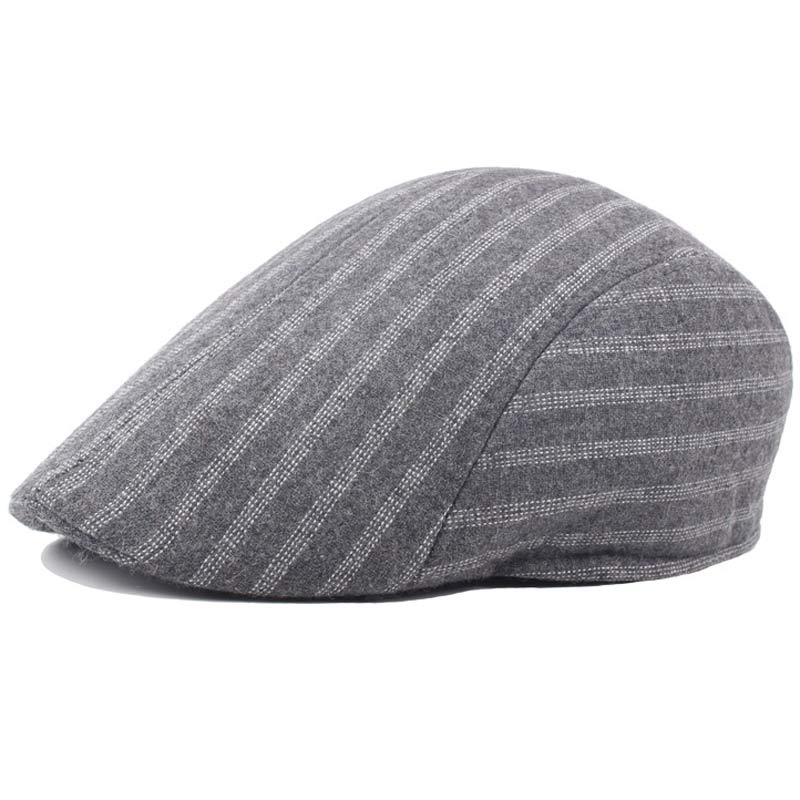 664d86b0 Autumn Winter Striped Retro Flat Cap Beret for Men Grey Black Driving Cabbie  Hats Size 58cm-in Newsboy Caps from Apparel Accessories on Aliexpress.com  ...