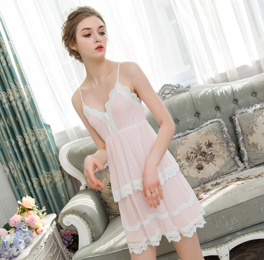 2019 New Women's Short Slip Dress Indoor Clothing Summer   Nightgowns     Sleepshirts   Lace Trimming Nightwear Femme Sleeping Dress
