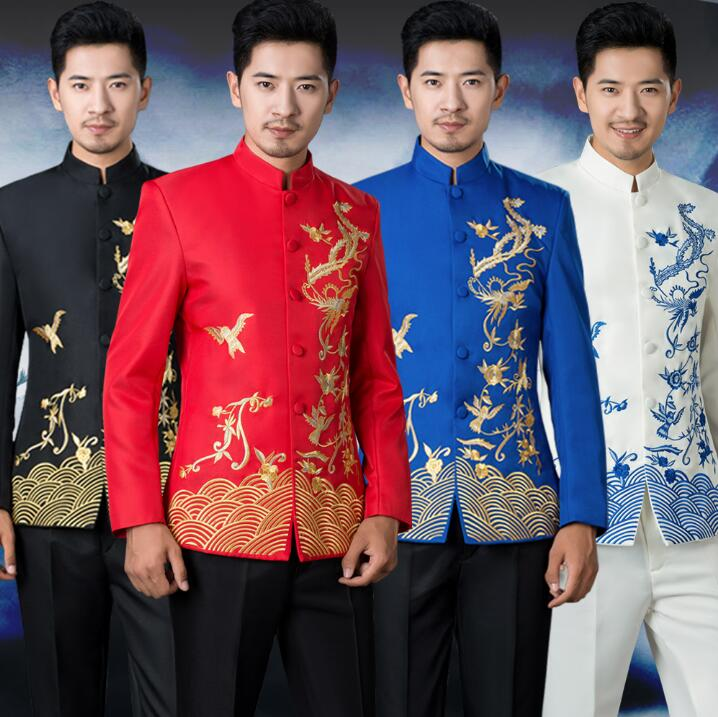 Stand Collar Embroidery Blazer Men Formal Dress Latest Coat Pant Designs Suit Men Wedding Suits For Men's Chinese Tunic Suit