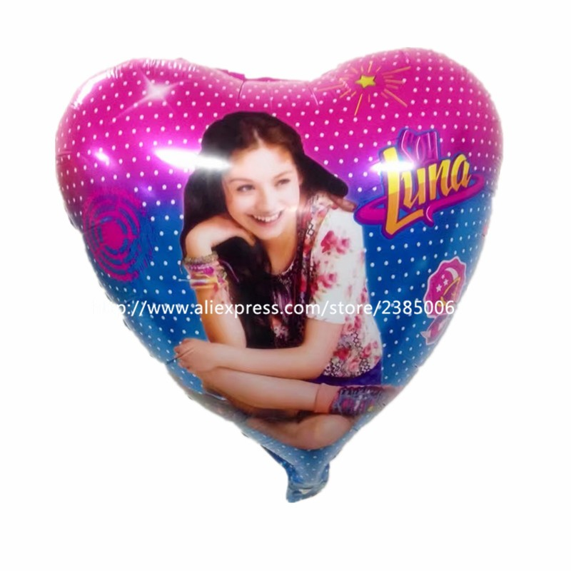 New Arrive!10pcs/lot Soy Luna 18 Foil balloons girls birthday party decoration heart cartoon helium inflatable toys.