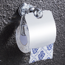 Europe Chrome Polished Toilet Paper Holders Crystal Tissue Holder Solid Brass Wall Mounted Toilet Paper Rack for Bathroom Decor