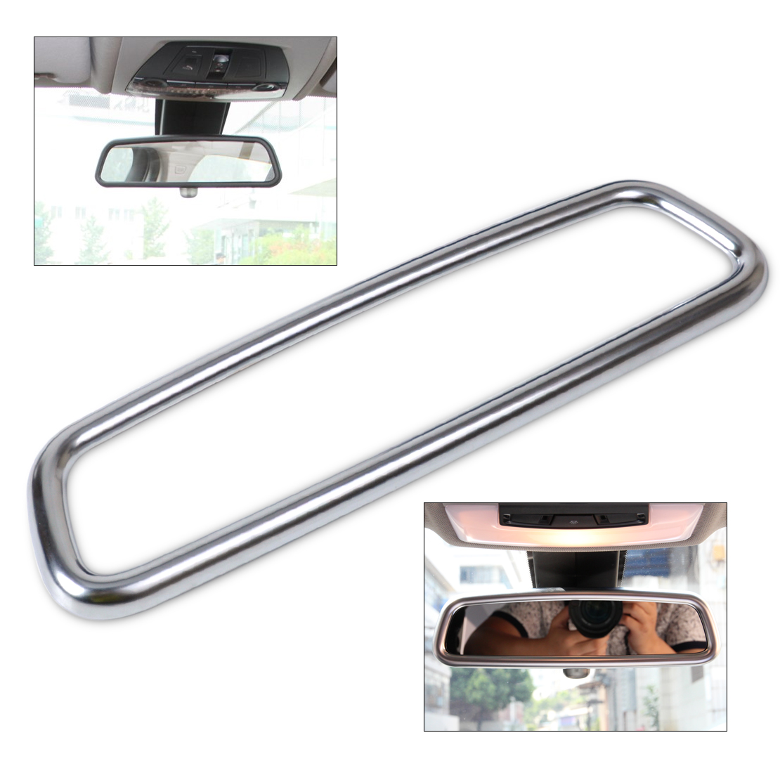 CITALL Chrome <font><b>Interior</b></font> Rear View Mirror Cover <font><b>Trim</b></font> Rear View Mirrors Decoration For <font><b>BMW</b></font> X1 X3 X5 X6 E84 F25 E71 <font><b>E70</b></font> 2010 - 2016 image