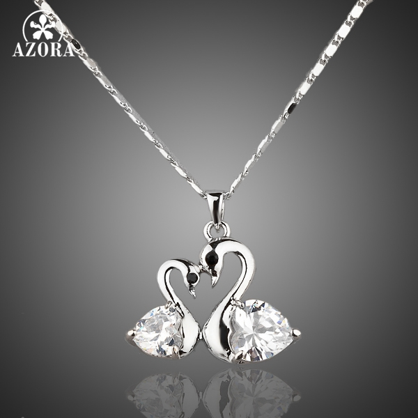 AZORA White Gold Color Stellux Austrian Crystal Big goose and little goose connected Pendant Necklace TN0004 ...
