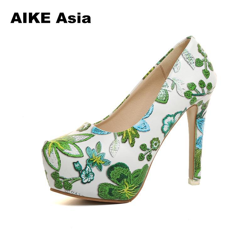 34-42 Size Women Pumps New Platform High Heels Shoes Woman Sexy Round Toe Pumps Extreme Thin Heel Wedding Graffiti Embroidered34-42 Size Women Pumps New Platform High Heels Shoes Woman Sexy Round Toe Pumps Extreme Thin Heel Wedding Graffiti Embroidered
