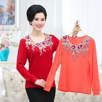 2016 new fashion o-neck chiffon  embroidery women\'s mother clothing summer spring autumn short-sleeve long T-shirt