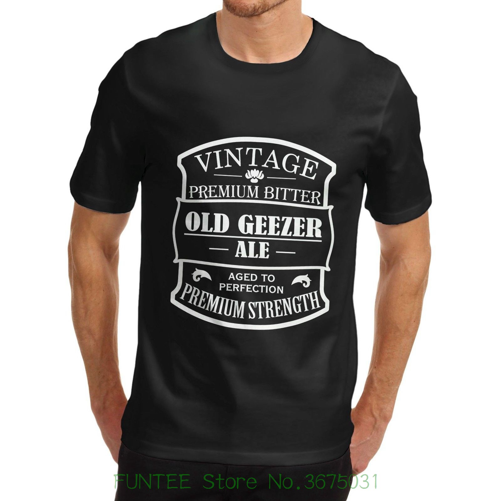 Mens Fashion Black Cotton Mens Old Geezer Ale Aged To Perfection Funny Fathers Day T-shirt