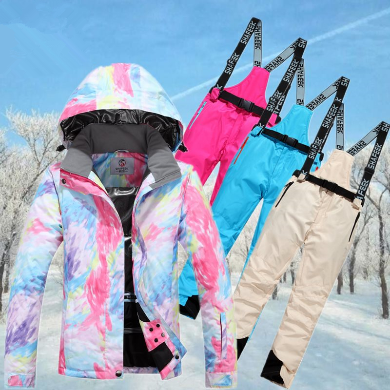 Winter Ski Jacket+Pant Women Waterproof Snowboard Suits Climbing Snow Female Skiing Clothes Skiing Suit Set Girls hot sale women ladies snowboard jacket waterproof breathable ski jacket female winter snow coat sport motorcycle anorak clothes