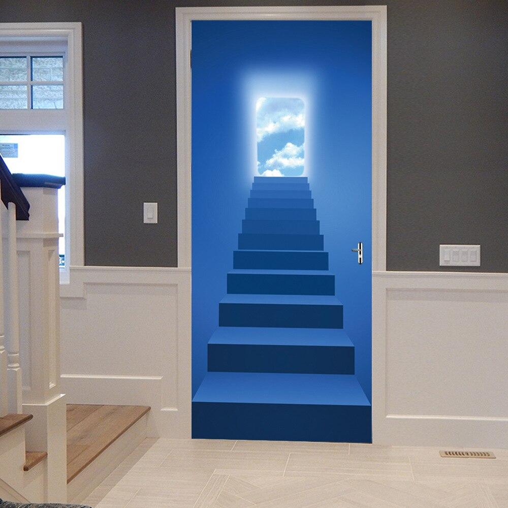 New Door Sticker Blue Sky Iron Ladder Halo Landscape
