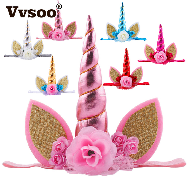 Vvsoo Gold Glitter Unicorn Horn Headband Happy Birthday Party Decoration  Fancy Flower Unicorn Birthday Party Hats Kids Favors d103fdf28d48