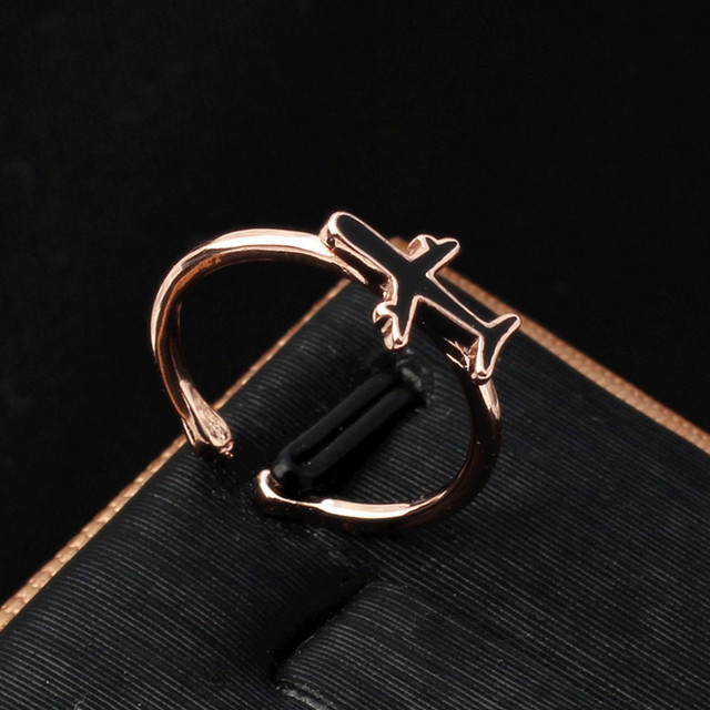 mini airplain adjustable ring for women kids jewelry tiny plane air plain sculpt