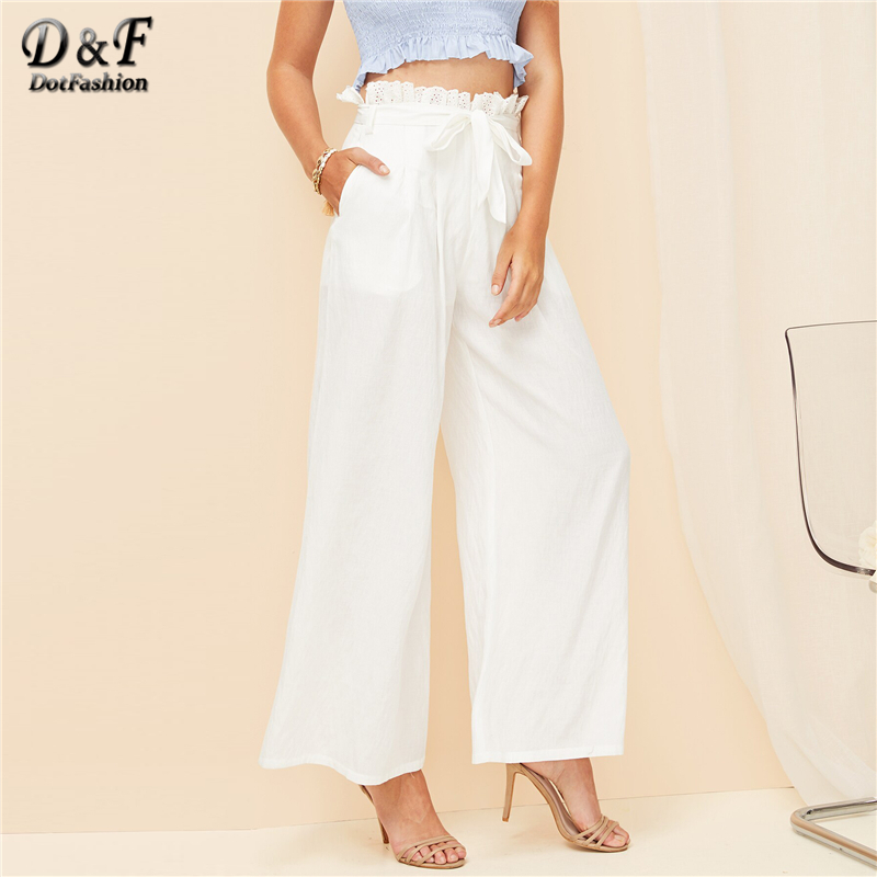 Dotfashion White Eyelet Embroidered Frill Waist Loose   Wide     Leg     Pants   Women Trousers Summer 2019 Boho Belted High Waist   Pants