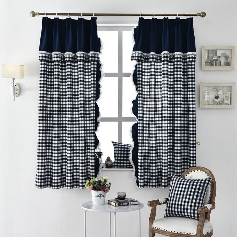 Korean Short Curtains For Kitchen Living Room Plaid Cotton