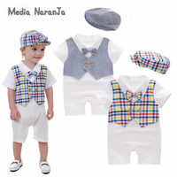 Ropa de bebé niño mameluco de verano de manga corta para niños pequeños pelele + sombrero 2 uds conjunto mono pajarita ropa de disfraz
