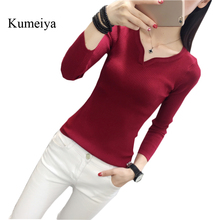 Новинка, весенний тонкий свитер, тонкий v-образный вырез, длинный рукав, сплошной цвет, вязаный свитер, рубашка, сексуальный женский вязаный пуловер с длинным рукавом