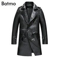 Batmo 2018 Новое поступление осень 100% натуральная кожа овчины двубортный тренч для мужчин, кожаная куртка мужчин