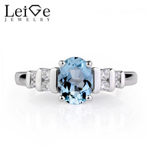 Leige Jewelry Aquamarine Engagement Ring Oval Gemstone Silver 925 Rings for Women Fine Jewelry Multi Stone March Birthstone