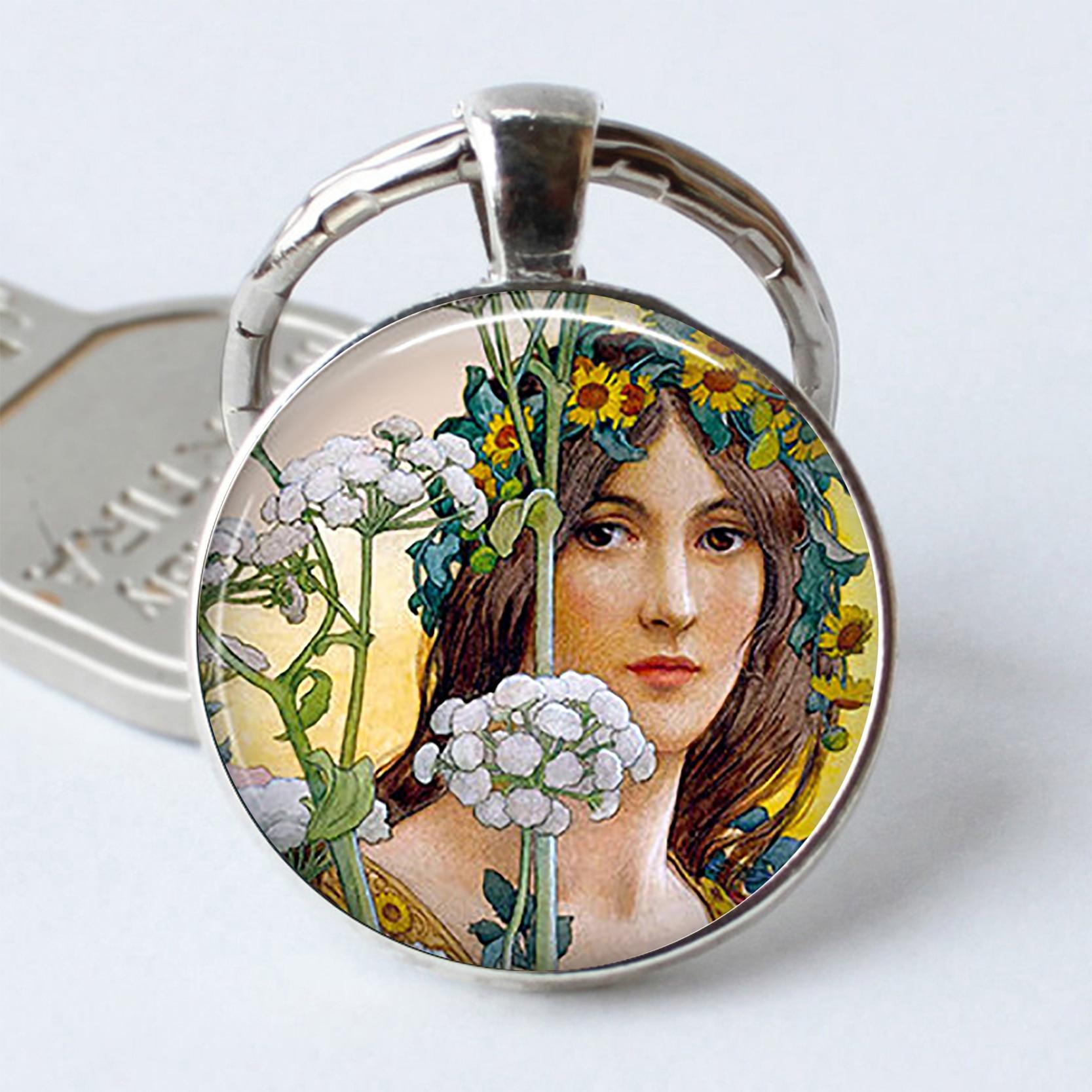 Art Nouveau Flower Fairy Keychain Cabochon Glass Keyring Art Nouveau Gift Oil Painting Key Chain Ring