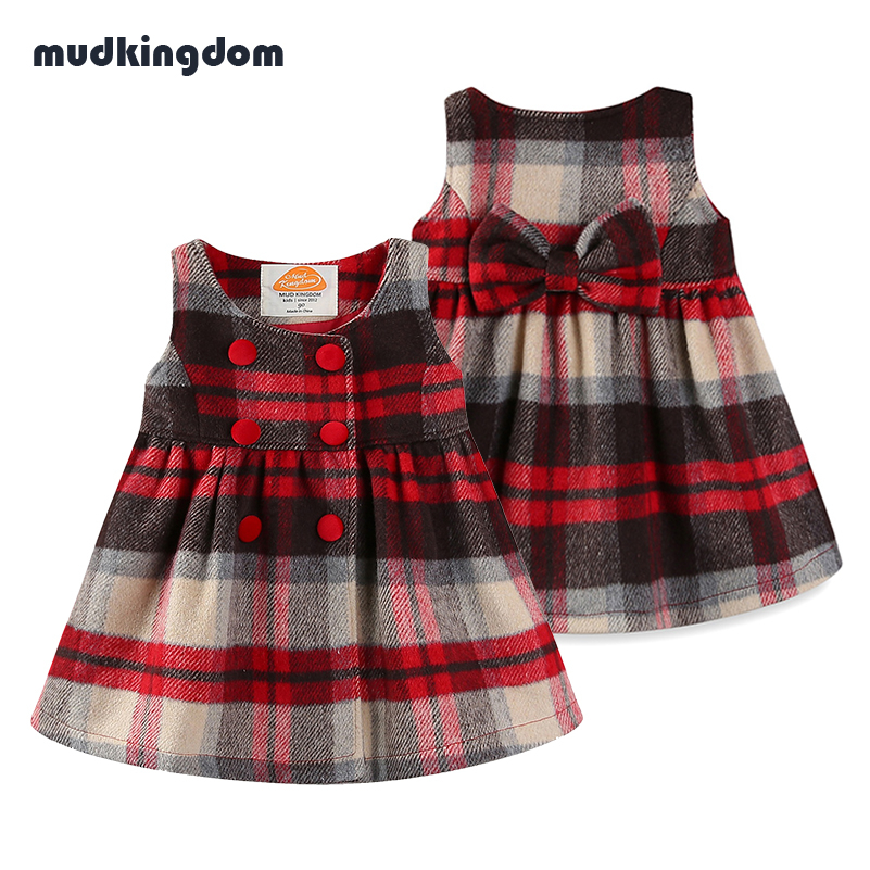 Mudkingdom Baby Girls Winter Plaid Dress Kids Baby Girl Clothes Girls Autumn Buttoned Tartan Dresses with