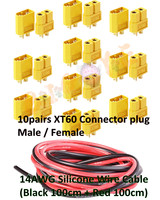 10pairs XT60 Connector Plug Male Female 14AWG Silicone Wire Cable Black 100cm Red 100cm 2 Meter