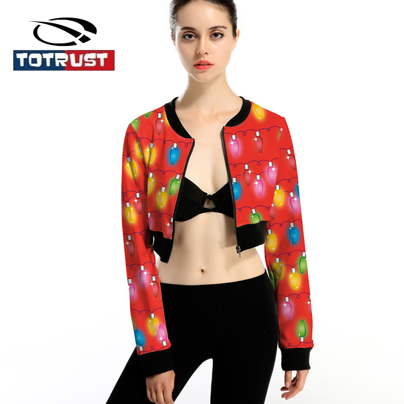 TOTRUST Women Bomber   Jacket   Printed Christmas Fashion Sexy Vintage Floral   Jacket   Women Short Coats Outwear Ladies   Basic     Jackets