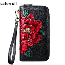 2019 new female wallet genuine leather women wallets luxury brand clutch purse long floral ladies wallets and purses недорго, оригинальная цена