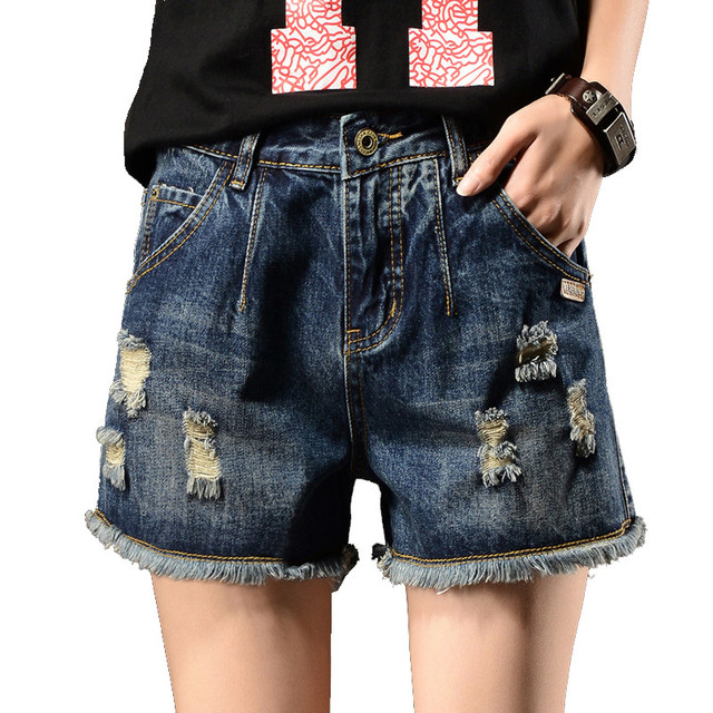 3d5abf9e905 Summer Denim Shorts Jeans Woman Plus Size Hole Ripped Jeans Shorts  Streetwear Hotpants Short Femme Wide Leg Women Shorts C4481