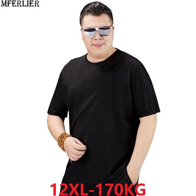 Camisa masculina de algodão clássico verão manga curta tamanho grande mais 6xl 8xl 10xl 12xl tshirt 52 54 56 60 62 64 68 70 170 kg 150 kg