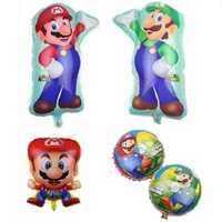 Globo de dibujos animados 3D de 2 uds., tema de Súper Mario, globo de aluminio clásico, decoración de fiesta de cumpleaños, juguete de regalo para niños