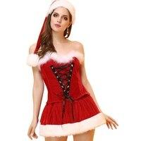 Natal Cosplay Vestido + Conjuntos de Chapéu Para As Mulheres Sexy fantasia de Papai Noel Natal Trajes Lingerie Sexy Hot Sale Y484