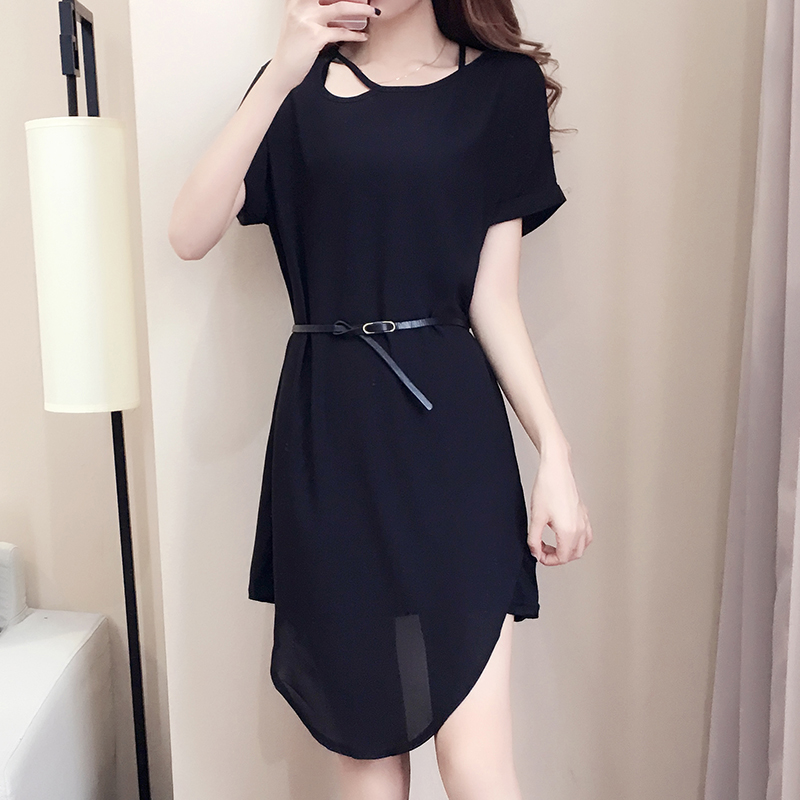 Nkandby Plus size Dress 2018 Summer Korean Women Fashion Loose Short sleeve  Solid Two piece Set Oversize Chiffon Dresses-in Dresses from Women s  Clothing on ... 573830d39ee8