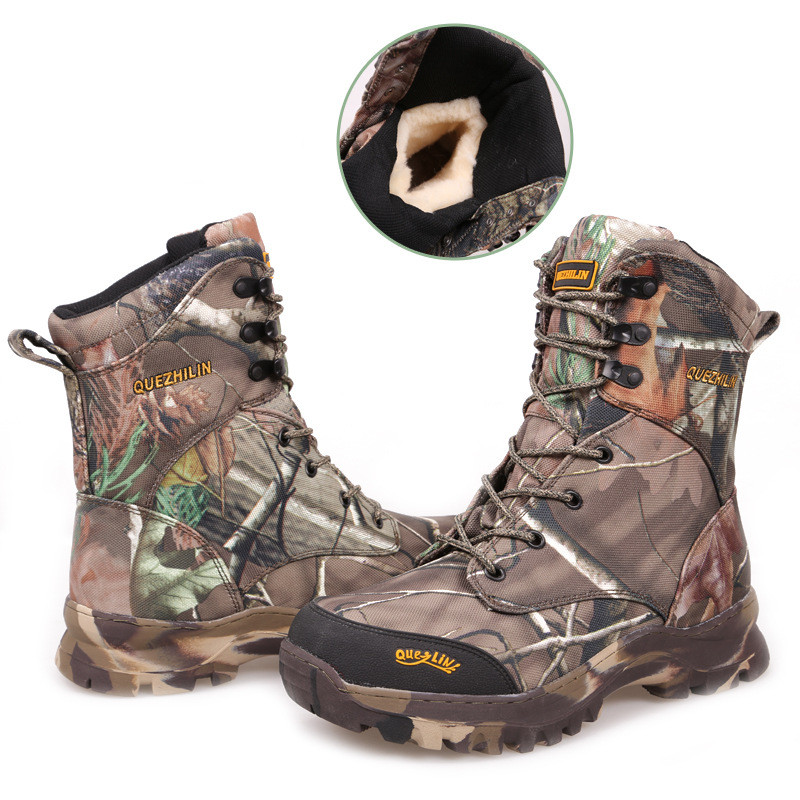 Winter Thick Fleece Warm Bionic Camouflage Snow Boots Outdoor Waterproof Desert Jungle Hiking Hunting Tactical High Shoe 46 size jungle new outdoor men s recreational fishing hunting baseball cap bionic camouflage