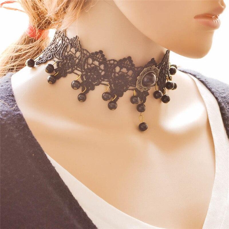 f382411e6 مجوهرات الأزياء بيان قلادة النساء السود الرباط المختنق زهرة قلادة المختنق  قلادة العرقية Collares موهير للنساء هدية