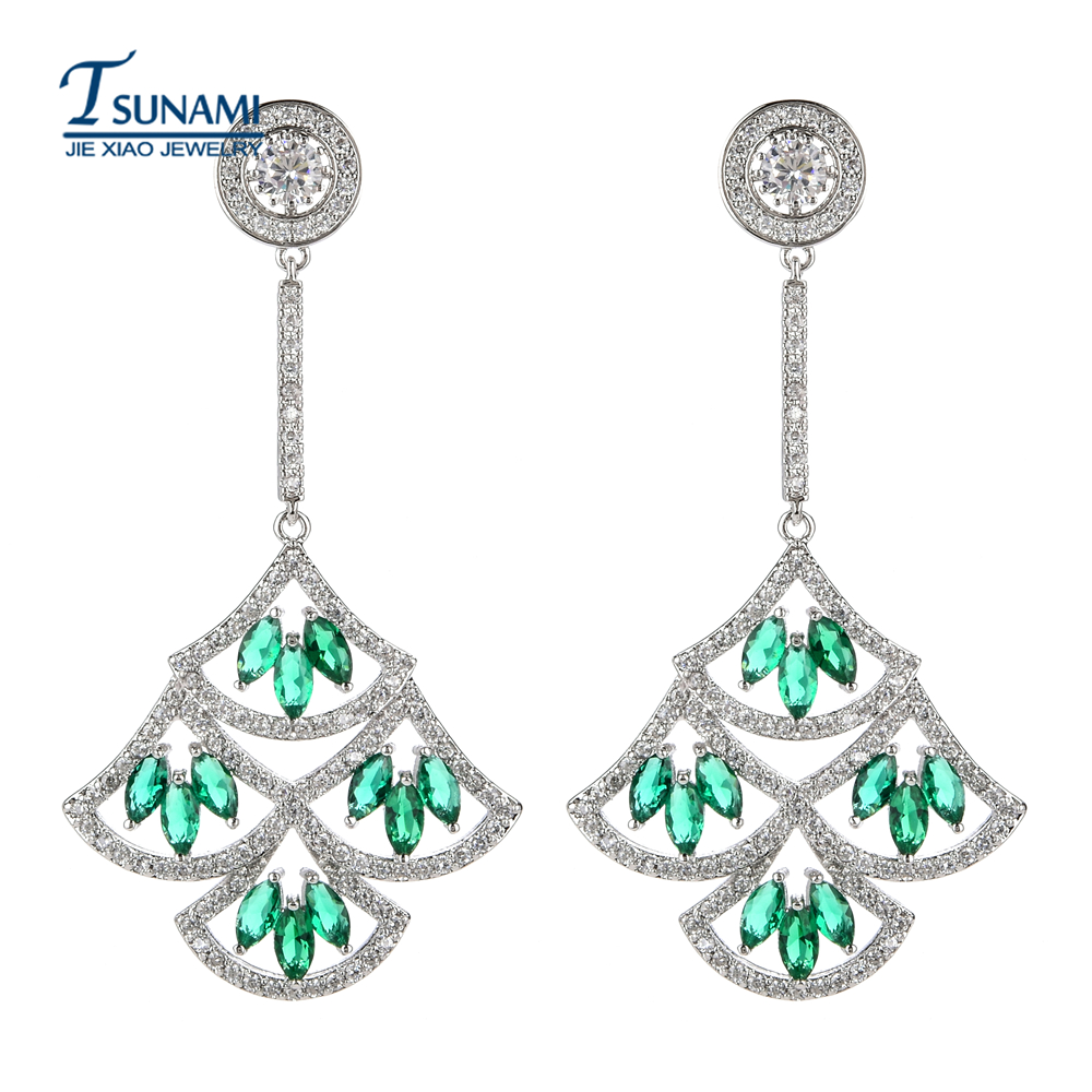 Top quality AAA zircon exaggerated earrings Wedding floral jewelry for women ER-200