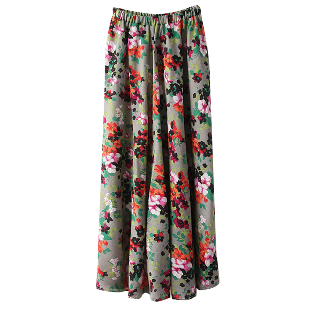 JAYCOSIN Women Boho High Waist Skirt Summer Casual Beach Maxi Long Skirt Floral Skirt Trumpet Mermaid Princess Skirt hot June 25