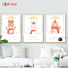 Dpkiss Christmas Canvas Painting Animals Nordic Poster Art Print Wall Home Decor For