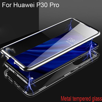Luxury Magnetic Adsorption Case For Huawei P30 Pro Metal Frame Clear Tempered Glass Cover For Huawei P30Pro Magnetic Flip Cases