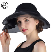 FS invierno 100% lana Fedora sombrero negro vintage ala ancha sombreros de fieltro  Cloche Fedora elegante velo sombrero señora I.. 8e704beb36d8