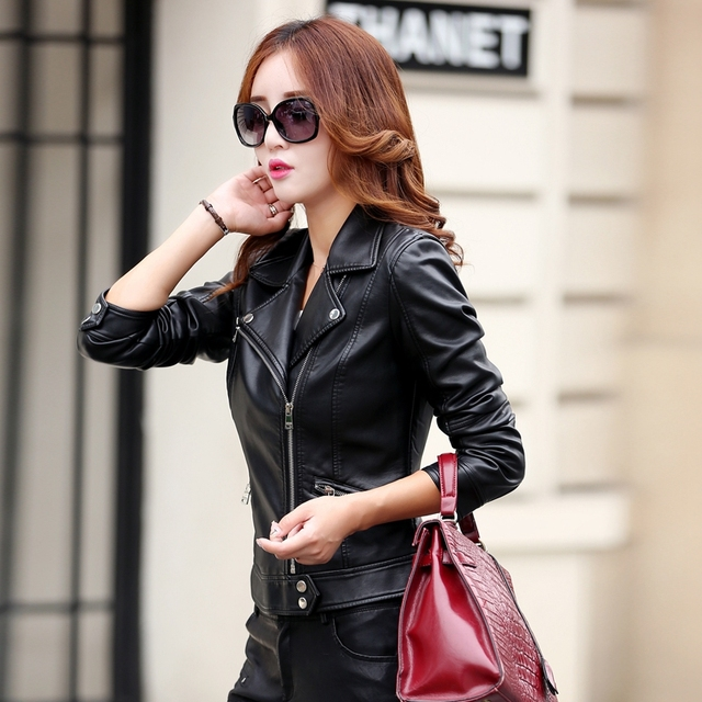 Plus Size S-3XL New Fashion 2016 Autumn Winter Women Leather Coat Female Slim Short Leather Jacket Women's Outerwear