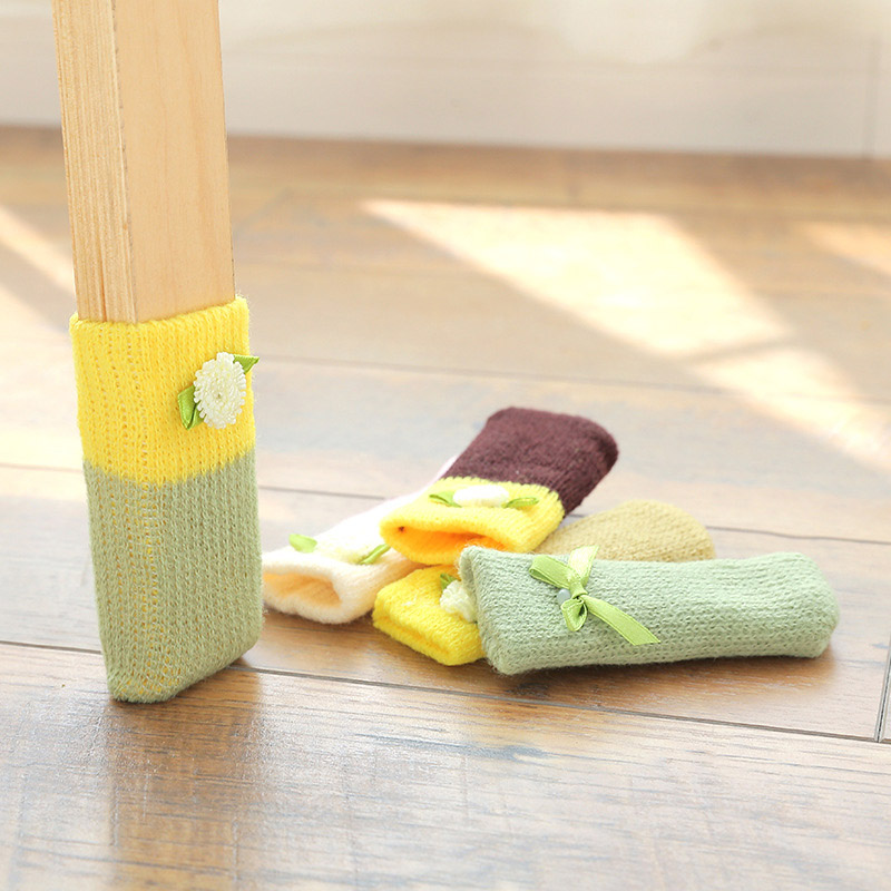 4 Pcs Knitting Table Chair Foot Leg Cover Sleeve Socks Floor Protector Home Dining Room HFing