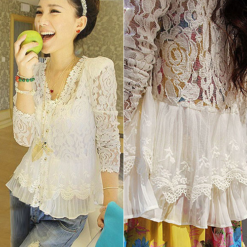 Women Lace Crochet Floral   Blouse     Shirt   Long Sleeve Patchwork Hollow Cardigan