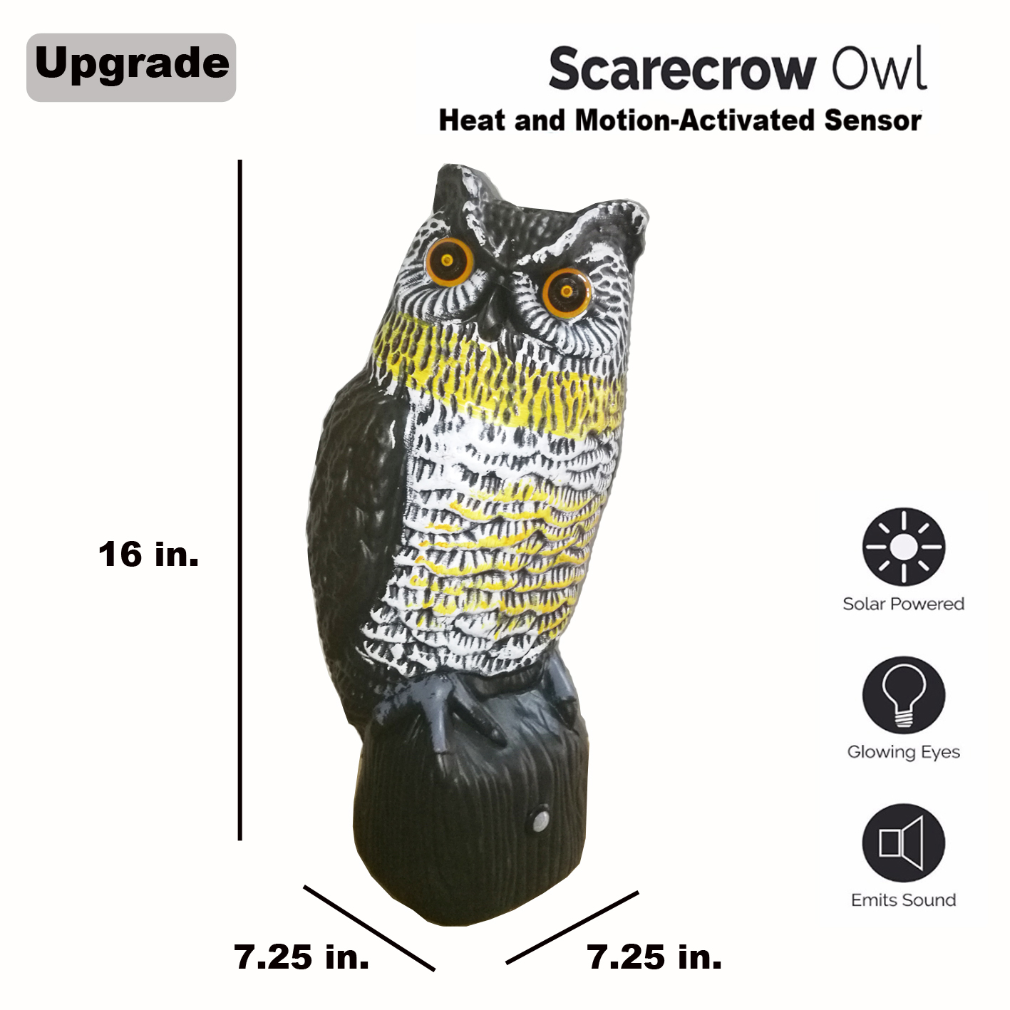 Solar Powered Animal Repellent Scarecrow Owl PIR Sensor Motion Activated Scarecrow Diverter with Flash Eyes Frightening