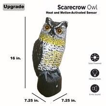 Солнечные пугало Сова-большой реалистичным сова-Движение Активированный мигающий Средства ухода для век и страшный звуки, эффективное птица, грызунов, вредителей